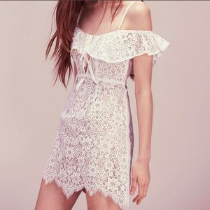 For Love and Lemons Rosemary White Lace Mini Dress